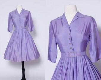 Vintage 50s lavender fit & flare dress / 50s shirtwaist dress / belted pleated dress / silk shirtdress