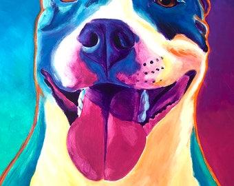 Pit Bull, Pet Portrait, DawgArt, Dog Art, Pit Bull Art, Pet Portrait Artist, Colorful Pet Portrait, Pet Portrait Painting, Art Prints, Art