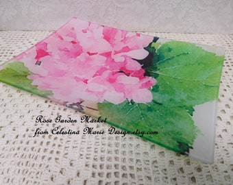 Glass Tray Plate Hand Painted With Pink Hydrangeas, Watercolor, Designer Collectible, Original Design, ECS