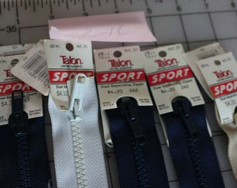 29 Z-16 Vintage DUAL Separating zippers five new with tags