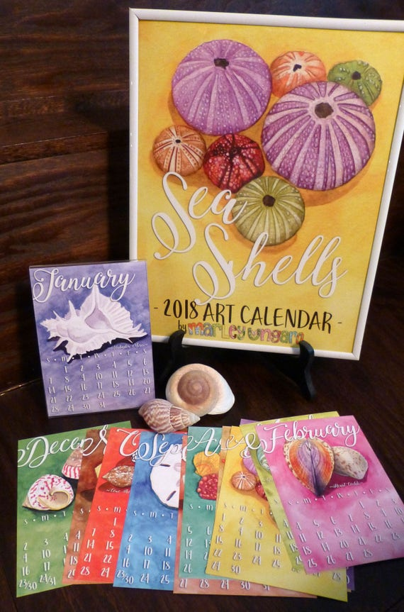 2018 Sea Shells Wall or Desk 5 x 7 Art Calendar by Marley