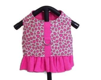 Leopard Dog Harness, Leopard Dog Dress, Dog Harness Vest, Pink Dog Harness, Small Dog Vest, Dog Clothes, Harness Vest, Girl Dog Clothes,