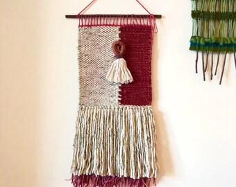 Handwoven wall hanging - rose / cream