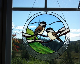 Chickadees on a branch in stained glass (birds on a branch)
