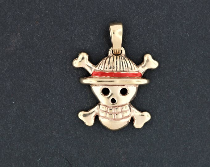 Straw Hat Jolly Roger pendant in antique bronze