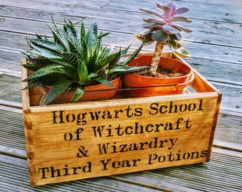 Hogwarts School of Witchcraft & Wizardry Harry Potter Vintage Wooden Handcrafted Rustic Oak Storage Box