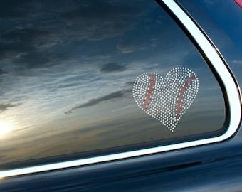 Baseball Heart Sport Mom Rhinestone Car Decal Bling