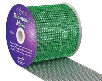 Diamante Effect  Cake Mesh Ribbon – Green x 1m