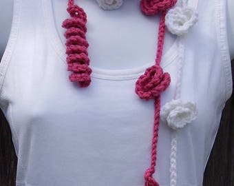 Lariat Scarf, Roses and Spirals Scarf, CHOOSE A Color, Many Colors to Choose From