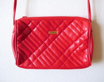 Vintage 1990s 1980s Gitano Quilted Red Crossbody bag 80s purse Red Vegan Faux Leather purse Crossbody Statement bag