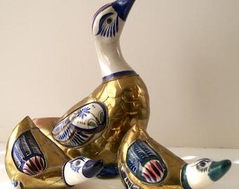 Brass Ducks, Duck Figurines, Set of Tonala Ducks, Family of Three, Ceramic Brass Duck Figurines