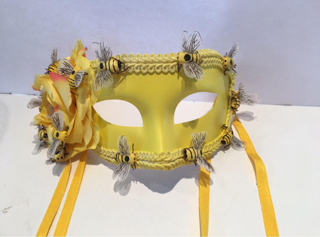 Yellow Masquerade Mask Bee costume Bumble Bee Mask Masked