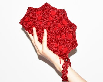 Red Clutch Crochet Bag, Christmas Purse, Clutch With Strap, Red Cocktail Bag, Clutch for Mother of the Bride, Red Wristlet Clutch Hand Strap