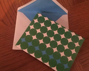Art Deco green and blue notecards with envelopes