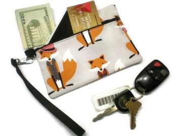 Fox wristlet, fox phone wallet, fox zippered purse, fox clutch, fox gift idea, fox camera bag, fox phone purse, gray wristlet, wrist pouch