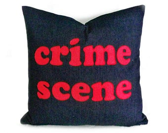 Funny Pillows, Pillows with Sayings, Funny Word Pillows, Unique Gift Idea, Man Cave Pillow, Applique Word Pillow Covers, Crime Scene Pillow