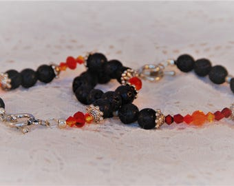 Lava and swarovski crystal bracelets