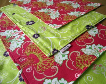 Pink and Lime Green Placemats with Flowering Pots Climbing Flowers, Fuchsia, Chartreuse, Purple, Damask Placemats, Pat Bravo Filigree
