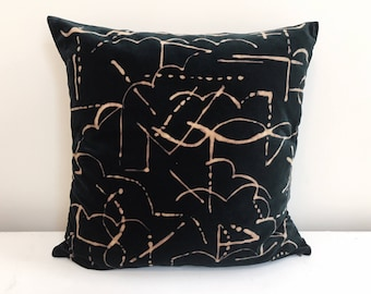 Dark Green Velvet  Pillowcase  20 x 20 with abstract hand painted pattern