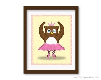 """Children's Wall Art - Ballerina Owl - 8"""" x 10"""" Children's Decor Wall Art Print - Nursery Room Decor - Ballet"""