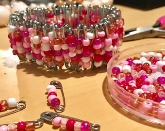 Pink Safety Pin Bracelet