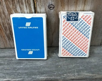 TWO DECKS of Vintage Airlines Playing Cards - Free Shipping