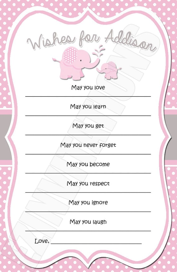 Pink And Grey Elephant Baby Shower Wishes Digital Invitation