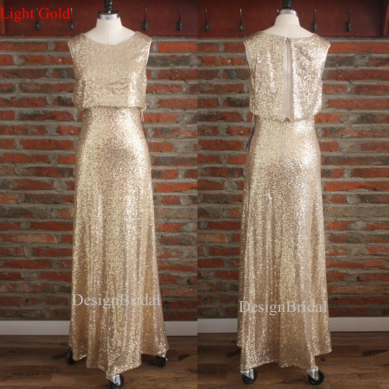 Gold Sequined Prom Dress Long Formal Dress Gold Bridesmaid