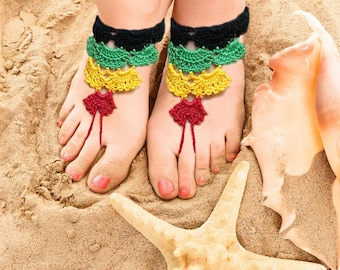 Barefoot Sandals, Rasta Crochet Barefoot Sandals, Foot jewelry, Summer Nude shoes, Crochet Anklet, Beach Footwear