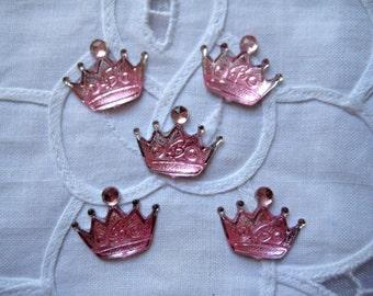 "PINK Crown DIY Acrylic Rhinestone Flat Back Scrapbook Crafting Party Favors Embellishment,1.5"" w x 1"" H / 20 mm x 15 mm, 25 pcs"
