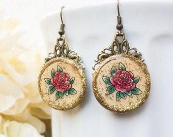 Vintage Rose Tattoo Earrings, Tattoo Flower Photo Earrings