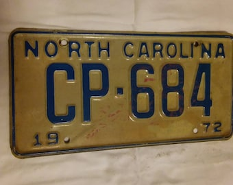 1972 NORTH CAROLINA License Plate