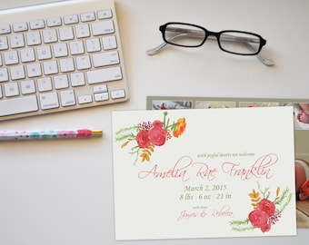 Photo Floral Baby Announcement Card with Back, Photo Announcement Card, Floral Baby Announcement, Printable Baby Announcement Card