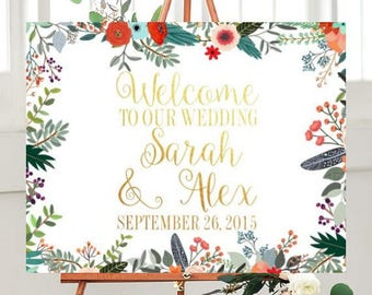 Wedding Welcome Sign, Printable Sign, Wedding Printables, Wedding Signs Printable, Floral Sign, country Wedding,  Custom wedding sign