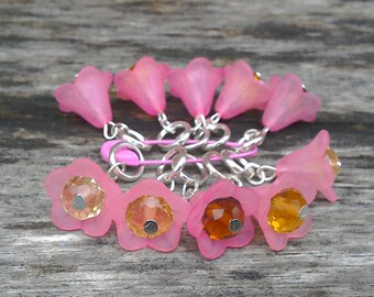 Crystal flowers stitch markers