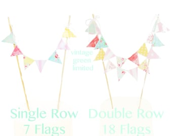 Shabby Chic Cake Banner Topper, Mini Cake Bunting, Fabric Pennant Flags, Girl Birthday Party, Baby Shower Banner Cake, Smash Cake Photo Prop