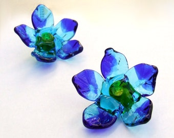 Lampwork Glass Flower Beads for Jewelry Making, 2 Blue and Turquoise Flowers, Made to Order