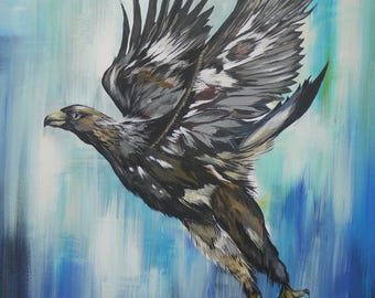 Golden Eagle In Flight Limited Edition Fine Art Giclee Print & Complimentary Greeting Card