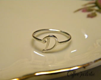 Handcrafted Silver Letter D Ring.