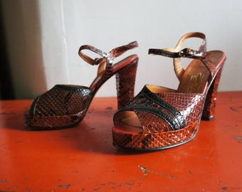 CREAZIONI DIVA 1970's Real Snakeskin Patchwork Platforms, Made in Italy