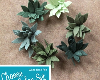 Wool Blend Felt Flowers   12 Agave Plants   Pick a Color Set   DIY   Unassembled Flowers