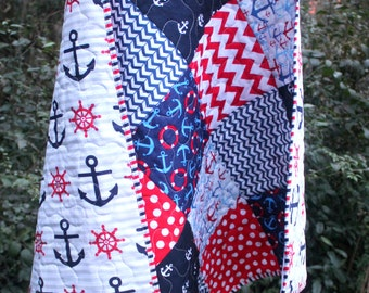 Baby Boy Quilt- Nautical Nursery Bedding- Navy Blue Red White- Anchor Sailor Navy Stripes Chevron Dots- Homemade Baby Quilt- Patriotic Baby