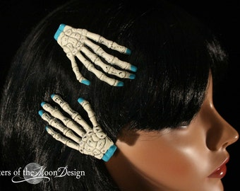 Skeleton hands hair clips with painted teal nails pair halloween costume barrette -- Sisters of the Moon