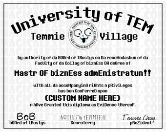 CUSTOMIZED University Of Tem Degree Diploma - Undertale Print to Make U Prouds ! !