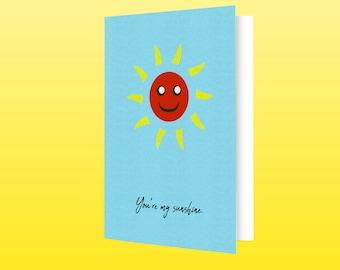 Modern Father's Day Art Homemade Card, Stylish Digital Print, Downloadable Print, Sun Print, Printable Card