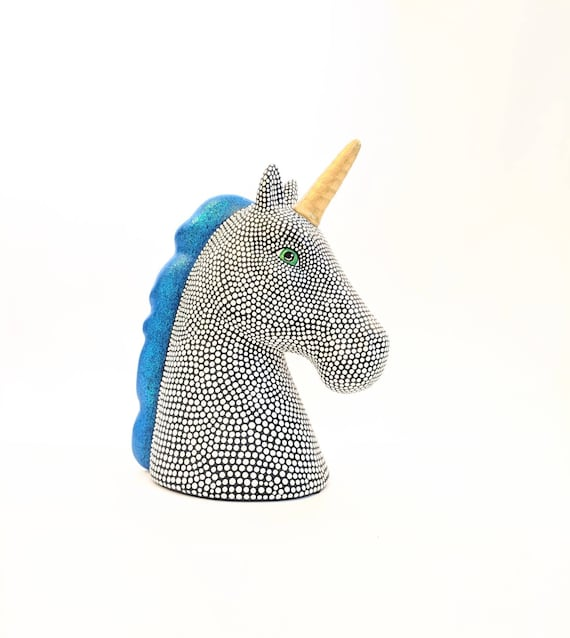 Hand painted Unicorn coin bank ceramic coin bank piggy bank blue mane black and white unicorn ceramic piggy bank