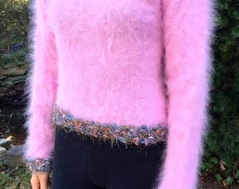 Angora Pullover with Unique Metallic Yarn Detailing!  One of Kind!