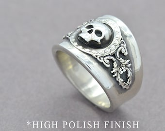 Mini Reaper Ring Skull Ring Sterling Silver Skull Ring Gothic Pirate Skull Ring Statement Ring