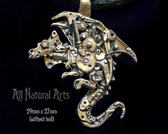 Mini Watch Parts Dragon Pendant in Silicon Bronze