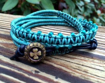 Wrap Bracelet- Macrame Wrap Bracelet- Boho Bracelet- Bohemian Jewelry- Leather Wrap Bracelet- Vintage Button- Teal Bracelet- Gift For Her